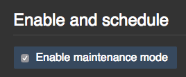 Checkbox for enabling or scheduling maintenance mode