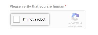 reCAPTCHA verification box