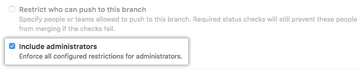 Include administrators checkbox