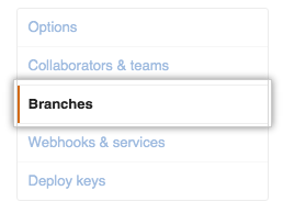 Repository options sub-menu