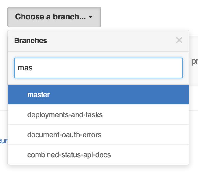 Selecting a protected branch drop-down menu