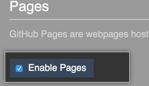 Checkbox to disable GitHub Pages