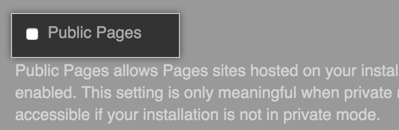 Checkbox to enable Public Pages
