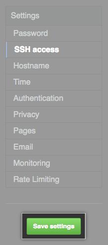 Save settings(保存设置)按钮