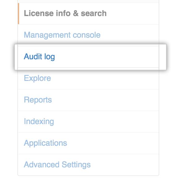 Audit logのタブ