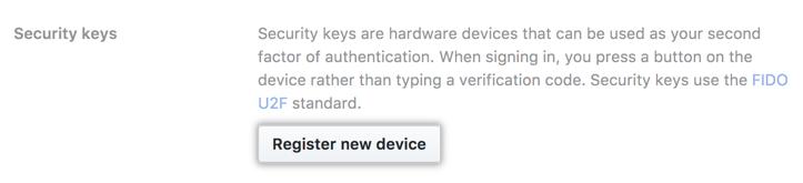 Registering a new FIDO U2F device