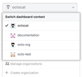 Dashboard context switcher drop-down menu showing different organization options