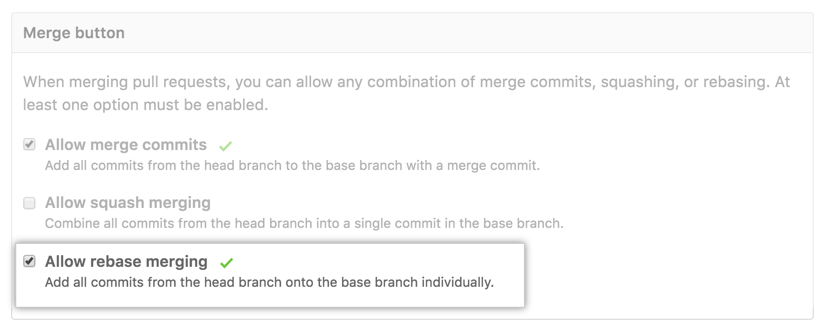 Pull request rebased commits