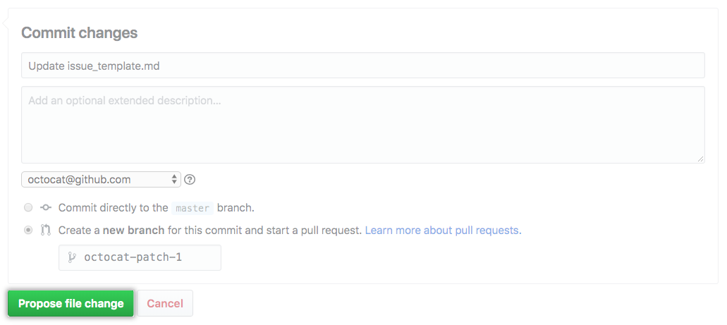 Propose file change(提议文件更改)按钮