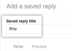 Saved reply title