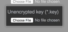TLS鍵ファイルを見つけるためのボタン