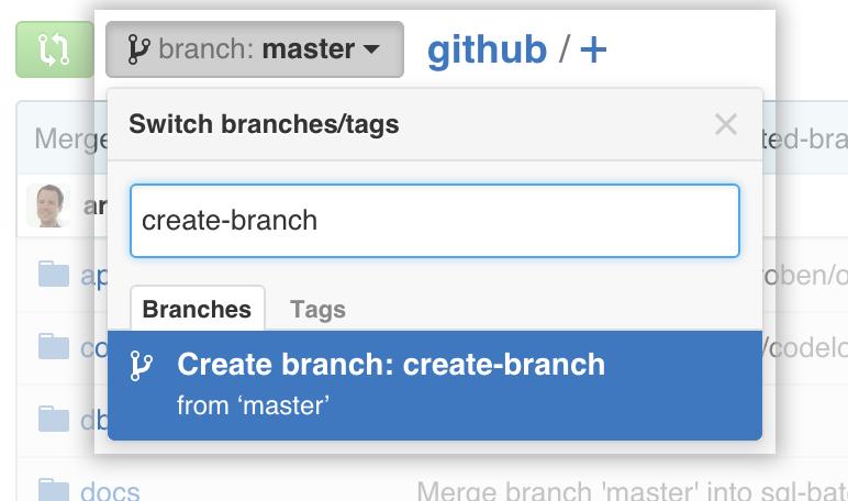 branch selector menu