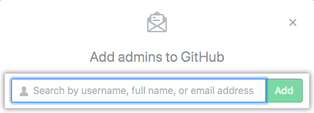 Search field to add an admin
