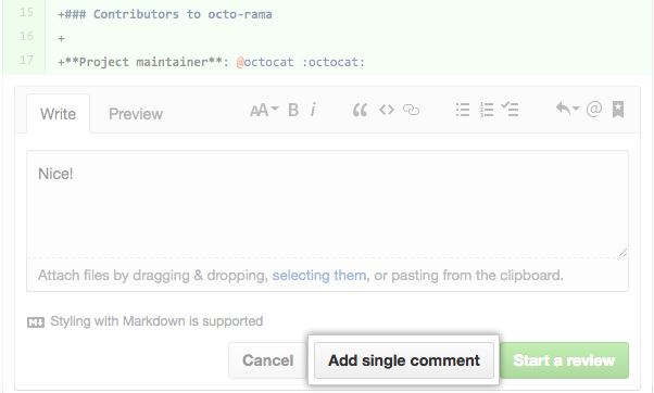 Inline comment window