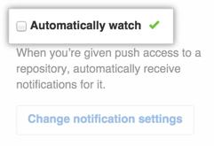 Una casilla de verificación para configurar ver automáticamente repositorios