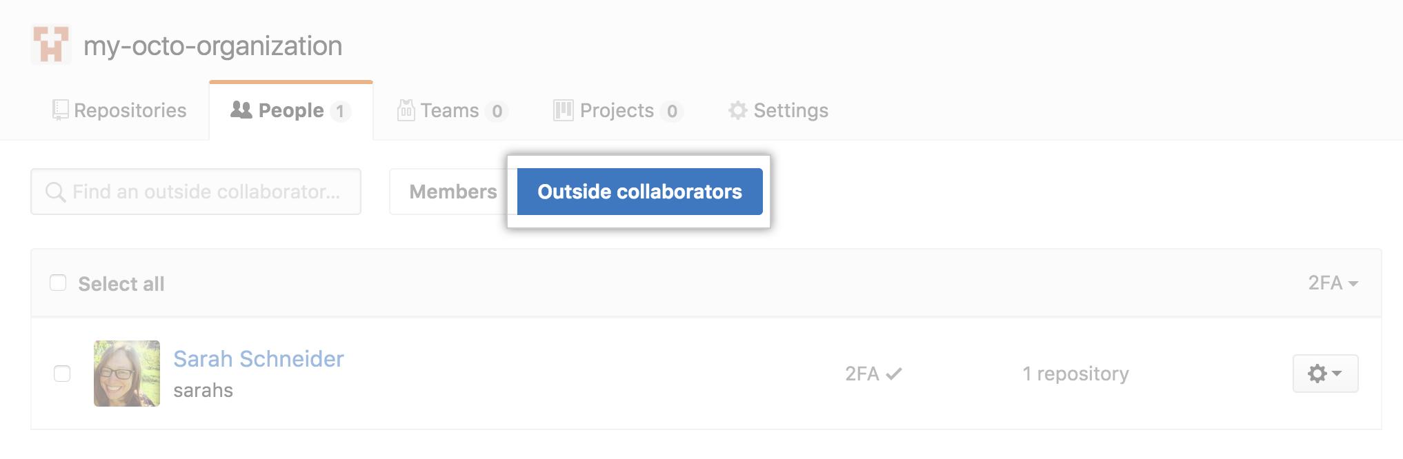 Botón para seleccionar colaboradores externos para una organización