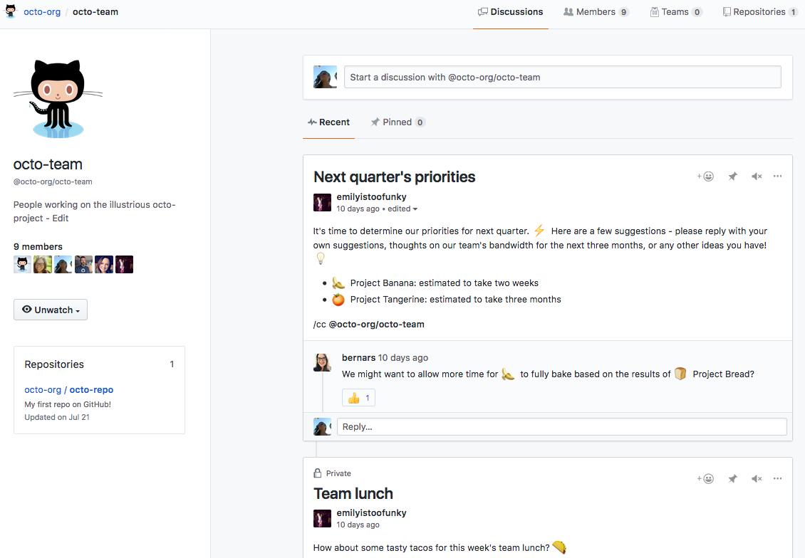 Página del equipo que enumera los miembros del equipo y los debates