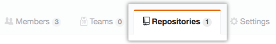 The team repositories tab
