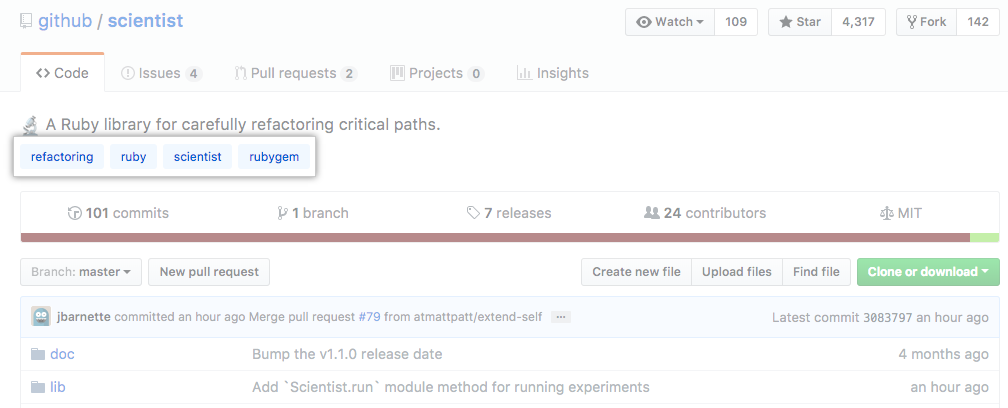 Main page of the test repository showing topics