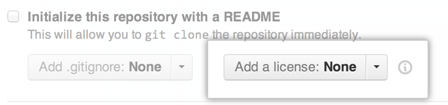 GitHub.com 上许可选择器的屏幕截图