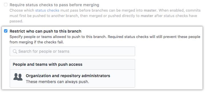 Branch restriction checkbox