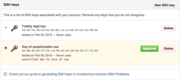 未验证的 SSH 密钥