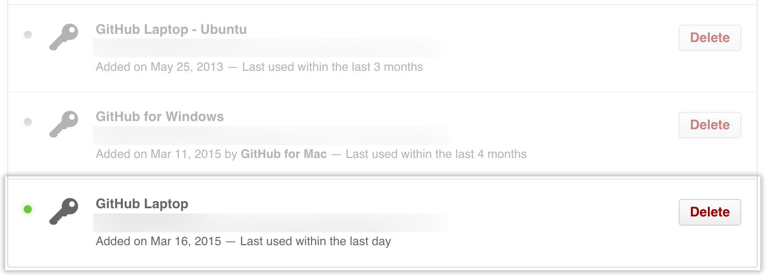 GitHub Enterprise の SSH キーのリスト