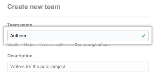 Team name field