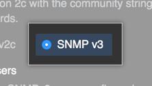SNMP v3 を有効化するボタン