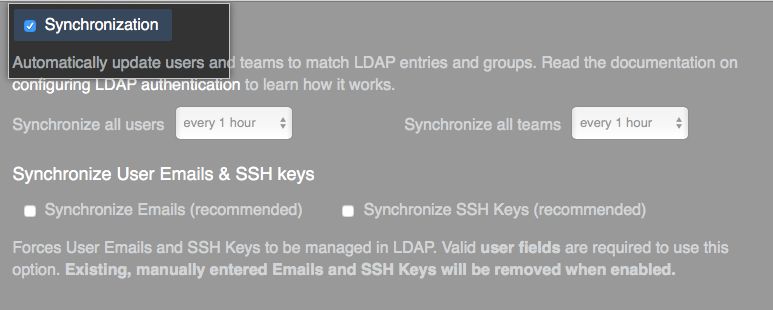 Synchronization check box
