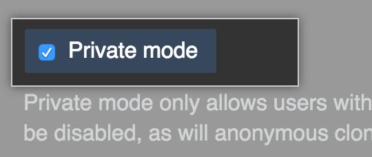 プライベートモードを有効にするためのチェックボックス