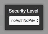 SNMP v3 ユーザのセキュリティレベルを指定するためのドロップダウンメニュー