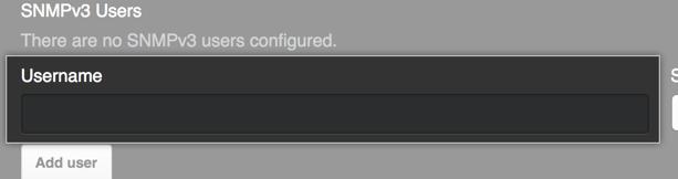 SNMP v3 ユーザ名を入力するためのフィールド