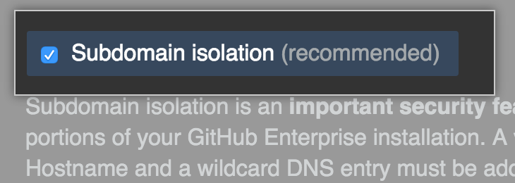 Subdomain Isolation を有効化するチェックボックス
