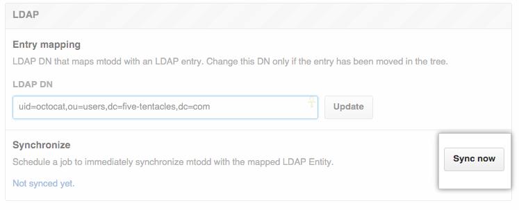 Botão LDAP sync now (Sincronizar LDAP agora)