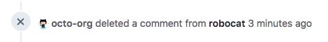 Evento anônimo de linha do tempo de um comentário excluído