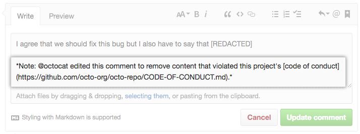 Janela de comentário com observação adicional que o conteúdo foi redacted (suprimido)