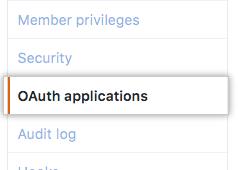 Aba OAuth applications (aplicativos OAuth) na barra lateral esquerda