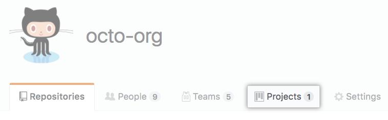 Organizationのプロジェクトタブ