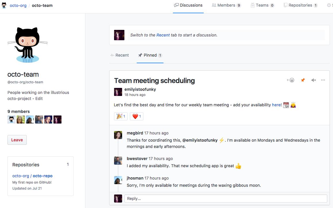 具有嵌入讨论的团队页面的嵌入讨论选项卡