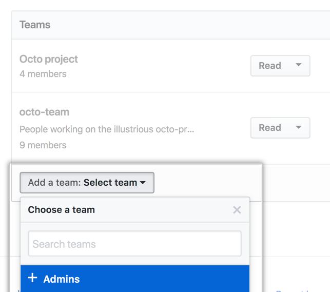 Menu suspenso Add a team (Adicionar uma equipe) com lista de equipes na organização