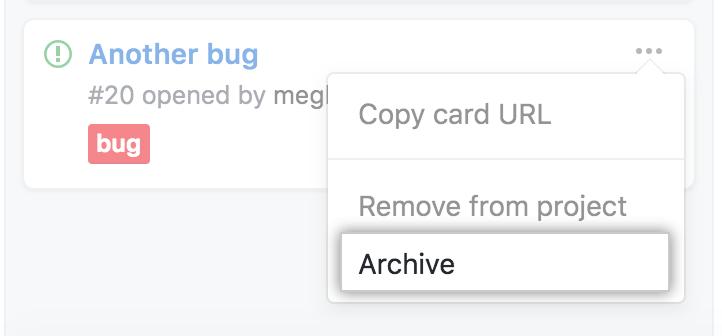 Opção de seleção de arquivamento no menu
