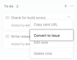 Botão Convert to issue (Converter em problema)