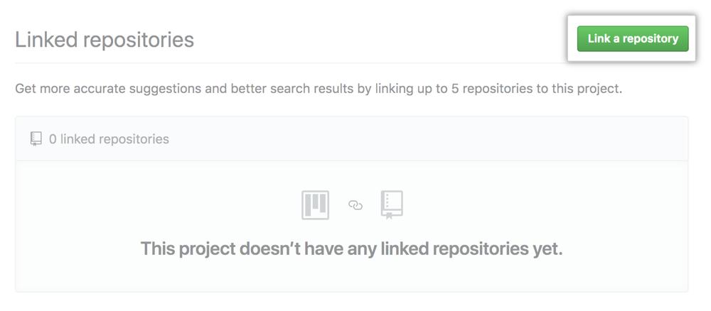 Botão Link a repository (Vincular um repositório) na aba Linked repositories (Repositórios vinculados)