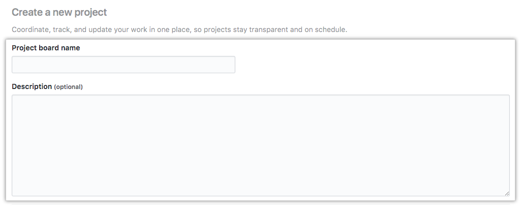 Fields for project name and description and Create project button