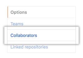 Collaborators menu option in left sidebar
