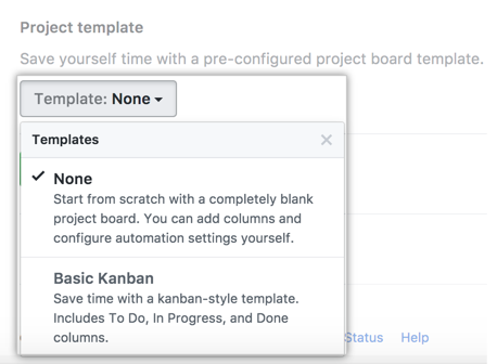 Drop-down menu showing project board template options