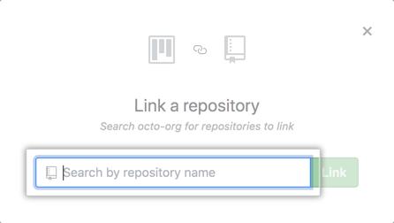 Campo de pesquisa na janela Link a repository (Vincular um repositório)