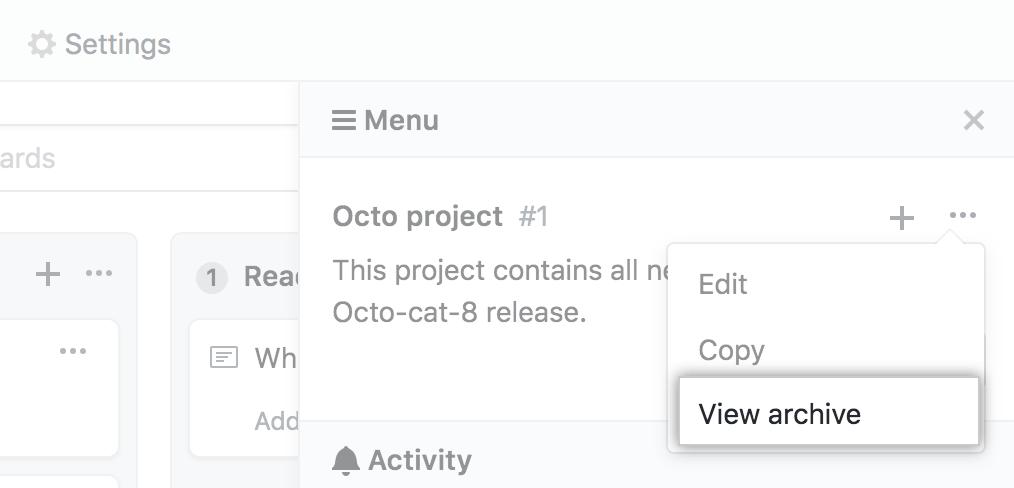 Opção de seleção de exibição de arquivamento no menu