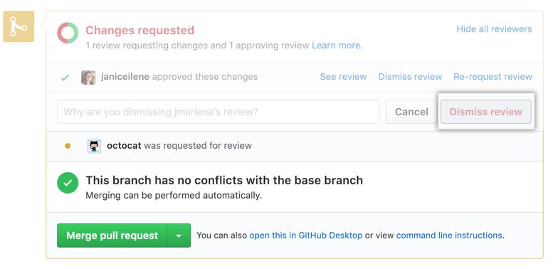 Dismiss review button